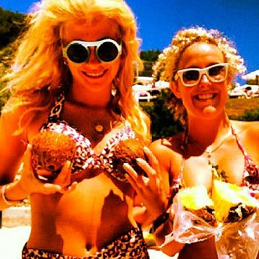 <p>Well Pixie Lott certainly has a lovely bunch of coconuts. The singer shared this fun snap of herself and a pal, while on holiday in Indonesia. With backcombed hair and a leopard print bikini, she looks like a very glamorous cave girl. Oh Pixie, invite Cosmo on your next girl's holiday please – we're so envious of your deep tan and beach hair.</p>