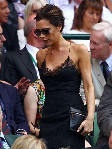 <p>Victoria Beckham reminds us that black is appropriate at any time of the year.</p> <p>This simple Louis Vuitton lace dress gives a flirty twist to a LBD and makes it perfect for summer drinks</p>
