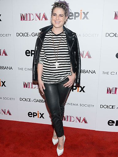 <p>Kelly Osbourne traded in her chic Kelly-O look and went back to her punk roots at the Dolce & Gabbana And The Cinema Society Present The Epix World Premiere Of Madonna: The MDNA Tour in New York. Kelly looked every inch the rock chick in a black and white Breton top, black leather trousers and a biker jacket, which she accessorised with a crucifix necklace and patent heels. We love the studded hairband too!</p>