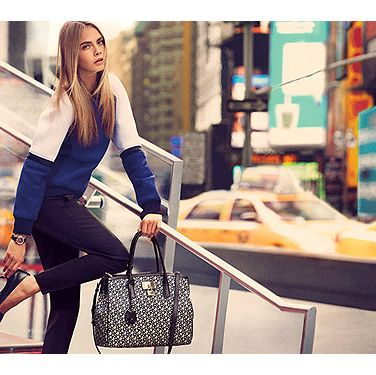 <p>After wowing the world in the SS13 campaign shots, Cara is back doing what she does best in the AW shots. Looking very much at home on the streets of New York, the model looks stunning for the fashion house.</p>