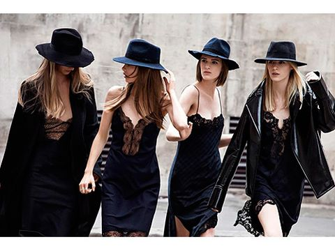 <p>We're loving the mix of silk slips and fedora hats.</p>