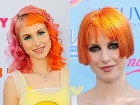 <p>Paramore's leading lady Hayley Williams is never one to shy away from a bold hairstyle but she decided to take things up a notch with this SUPER short bob. Her electric orange locks have been cut into a short blunt bob with fringe barely skimming her eyebrows. The new styles shows off her amazing cheekbones and from the looks of it, Hayley is more than happy to stick to this style for a while.</p>