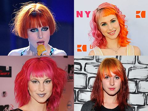 <p>Paramore's leading lady has been a bright hair inspiration since the start of her career. Jumping from red and orange to pink, there is no colour or style that the singer is too scared to try. Check out her life in hair so far...</p>