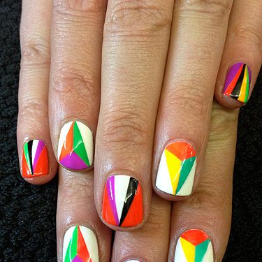 <p>The Autumn/Winter 2012 catwalks were filled with incredible geometric patterns and prints. Taking inspiration from the Miu Miu and Prada  shows I created this geometric kaleidoscope nail design…<br /><br />For this design you will need:<br /><br />CND Sticky base coat<br />Seche Vite topcoat<br />Striping brush<br />OPI Alpine Snow<br />OPI Lady in black<br />Colour Club Almost Famous<br />Colour Club Wham! Pow!<br />Colour Club Edie<br />Colour Club Feeling Groovy<br />Colour Club Power Play</p>