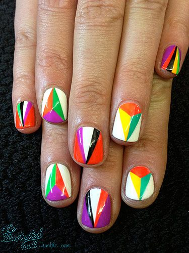 <p>The Autumn/Winter 2012 catwalks were filled with incredible geometric patterns and prints. Taking inspiration from the Miu Miu and Prada  shows I created this geometric kaleidoscope nail design…<br /><br />For this design you will need:<br /><br />CND Sticky base coat<br />Seche Vite topcoat<br />Striping brush<br />OPI Alpine Snow<br />OPI Lady in black<br />Colour Club Almost Famous<br />Colour Club Wham! Pow!<br />Colour Club Edie<br />Colour Club Feeling Groovy<br />Colour Club Power Play</p> <p> </p>