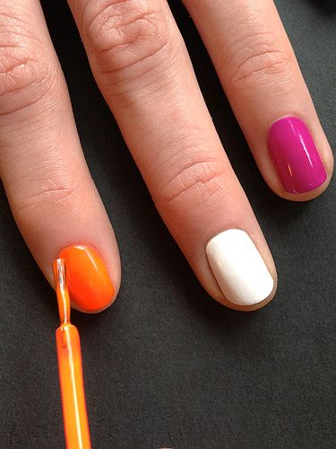 <p>After applying a base coat to your nails apply 2 coats of white, purple and orange polishes in a random order.</p>