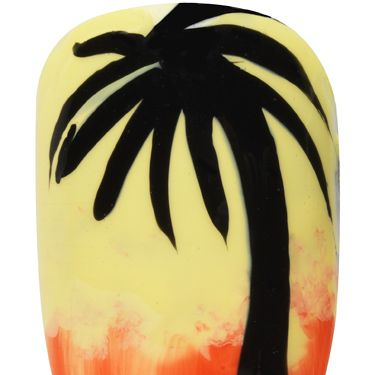 <p>Get set for the August bank holiday with some more Caribbean culture, carnival-inspired nail art.</p><p>1. Start by applying two coats of Max Colour Effect Nail Polish in Mellow Yellow over the whole nail <br />2. Next, before the final coat is completely dry, apply Glossfinity Nail Polish in Flushed Rose to the bottom third of your nail, smudging slightly into the yellow with a small nail sponge to create an ombre effect<br />3. To create the palm tree design, apply Glossfinity Nail Polish in Blackout using a small nail brush to paint on the silhouette outline<br />4. Finish off with a slick of Glossfinity Nail Polish Top Coat</p>