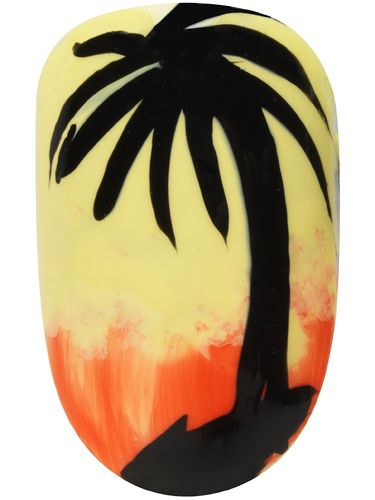 <p>Get set for the August bank holiday with some more Caribbean culture, carnival-inspired nail art.</p> <p>1. Start by applying two coats of Max Colour Effect Nail Polish in Mellow Yellow over the whole nail <br />2. Next, before the final coat is completely dry, apply Glossfinity Nail Polish in Flushed Rose to the bottom third of your nail, smudging slightly into the yellow with a small nail sponge to create an ombre effect<br />3. To create the palm tree design, apply Glossfinity Nail Polish in Blackout using a small nail brush to paint on the silhouette outline<br />4. Finish off with a slick of Glossfinity Nail Polish Top Coat</p>