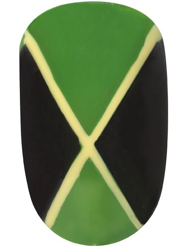 <p>Hitting the Notting Hill Carnival this bank holiday? Make your nails as colourful as the costumes with this Jamaican flag nail art.</p> <p>1. Apply two coats of Max Colour Effect Mini Nail Polish in Cactus Green over the whole nail<br />1. With a fine nail brush, fill in two outside triangles with Glossfinity Nail Polish in Blackout <br />2. Draw a cross shape across the nail using Max Colour Effect Nail Polish in Mellow Yellow using a fine brush<br />3. Finish with a coat of Glossfinity Nail Polish Top Coat</p>