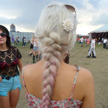 <p>What a pretty plait&#x3B; this gal's hair has been loosely swept into a long braid, and the subtle dip-dye that fades into pink is a perfect look for a festival.</p>