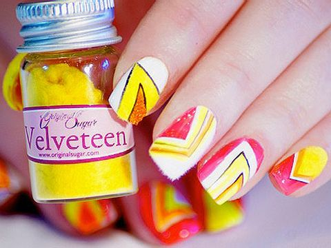 <p>It's all about standout nails and nothing gets attention more than good old neon nails. So whether you're off partying away at a festival or just off to a rave, here's how to get your very own glow stick talons.<br /><br />For this design you will need:<br /><br />White nails polish<br />Neon orange nail polish<br />Original Sugar nail art pen with black paint<br />Bullinionaire beads in Juicy Orange<br />Velveteen in Lemon Drops and Marshmallow</p> <p> </p>