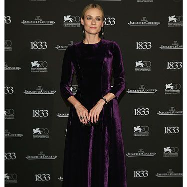 "<p>Our first sighting of <a href=""http://cosmopolitan.co.uk/fashion/shopping/tca-all-star-summer-party-best-dressed-diane-kruger-kelly-rowland"" target=""_blank"">Diane Kruger</a> at the 2013 Venice Film Festival, and it's a goody! The actress is clearly getting ahead of the winter fashion trends, with her velvet Alberta Ferretti gown and sparkling star earrings (teamed with a Jaeger-LeCoultre watch, as they were hosting the dinner, after all!)</p>