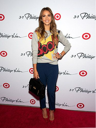 """<p>Jessica Alba looked casully coolat the Phillip Lim for Target launch party in NYC. Wearing a playful slogam sweater with navy-and-black tuxedo trousers, then finished with a black structured bag from the collection, the actress looked BOOM-diggity.</p> <p class=""""fb_frame_side_right_paragraph""""><a href=""""http://www.cosmopolitan.co.uk/fashion/love/"""" target=""""_blank"""">VOTE ON CELEBRITY STYLE</a></p> <p class=""""fb_frame_side_right_paragraph""""><a href=""""http://www.cosmopolitan.co.uk/fashion/shopping/new-in-store-2-september"""" target=""""_blank"""">SHOP THIS WEEK'S BEST BUYS</a></p> <p class=""""fb_frame_side_right_paragraph""""><a href=""""http://www.cosmopolitan.co.uk/fashion/celebrity/"""" target=""""_blank"""">SEE THE LATEST CELEBRITY TRENDS</a></p>"""