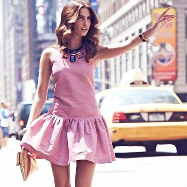 <p>Colour-block dresses and statement accessories are going nowhere, and this look is literally stopping traffic in New York right now.</p><p>Create it yourself with our fashion and beauty tips on the next page.</p>