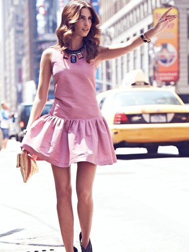 <p>Colour-block dresses and statement accessories are going nowhere, and this look is literally stopping traffic in New York right now.</p> <p>Create it yourself with our fashion and beauty tips on the next page.</p>