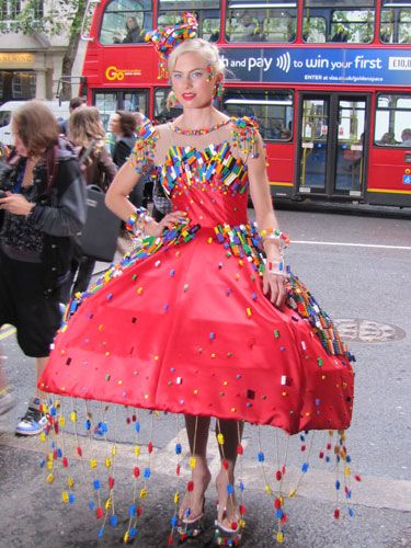 How do you create a photo frenzy at Fashion Week? Turn up covered in Lego of course! We'll never look at the childhood toy in the same way again.