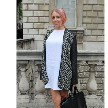 Can you say Baby Spice? We're loving this outfit's serious 90's vibes, from the white minidress to those gorgeous stacked platforms to the Manic Panic hair. The coat's leather inserts and that sturdy bag stop it from being TOO sugary sweet.