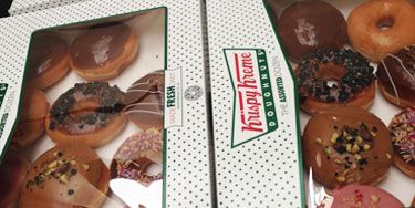 <p>Models backstage at House of Holland happily tucked into piles of sandwiches from Pret a Manger, and a few casual Krispy Kremes.</p> <p>We're suddenly considering a career change...</p>