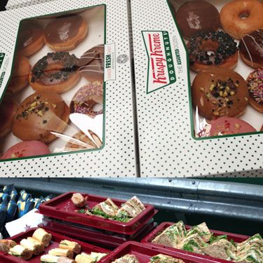 <p>Models backstage at House of Holland happily tucked into piles of sandwiches from Pret a Manger, and a few casual Krispy Kremes.</p>