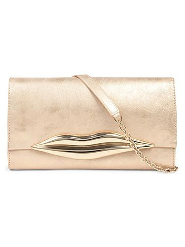 <p>Pucker up and nail two trends in one with this metallic clutc. </p>