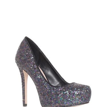<p>These blue glitter platforms will spice up your LBD in no time.</p>