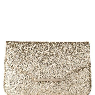 <p>This gold glitter clutch bag is perfect for the upcoming party season.</p>