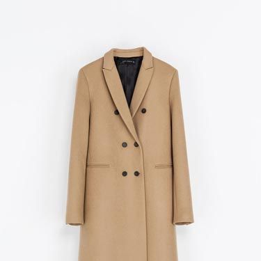 """<p>The masculine cut of this coat would work perfectly with floaty, floral dresses for a transitional post-summer look. </p><p>Masculine double-breasted coat, £129, <a href=""""http://www.zara.com/uk/en/woman/coats/coats/masculine-double-breasted-coat-c499001p1471566.html"""" target=""""_blank"""">Zara</a></p>"""