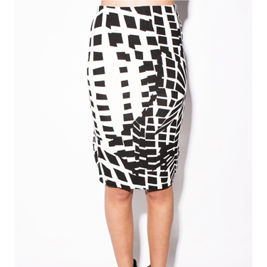 "<p>What's black, white and rad all over? This skirt. <a href=""http://www.shelikes.com/penni-black-v-neck-cap-sleeve-skater-dress-mwd-18-20.html"" target=""_blank"">Moncohrome </a>was a huge trend for summer and it's set to stick around for winter. Team this geometric style with a tailored blazer and heels for sexy secretarial chic.</p>