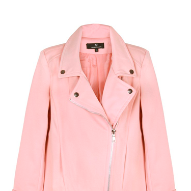 <p>Jump on the rosy trend with PPB's lovely longline soft pink bker jacket. Team with slick leather pants and simple white shirt or add a bit of edge with some ripped baggy jeans and heels.</p>