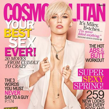 """Miley's Cosmopolitan US cover at the start of this year saw her rocking a white suit with a matching white blonde pixie crop, and not much else. Apart from a whole lot of cleavage. Wit wooo.<p><a href=""""http://www.cosmopolitan.co.uk/celebs/entertainment/singers-crying-on-stage-video"""" target=""""_blank"""">MILEY CRIES SINGING WRECKING BALL - WATCH</a></p><p><a href=""""http://www.cosmopolitan.co.uk/celebs/entertainment/miley-cyrus-rolling-stone-interview"""" target=""""_blank"""">READ MILEY'S ROLLING STONE INTERVIEW</a></p>"""