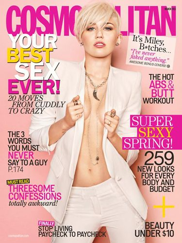 "Miley's Cosmopolitan US cover at the start of this year saw her rocking a white suit with a matching white blonde pixie crop, and not much else. Apart from a whole lot of cleavage. Wit wooo. <p><a href=""http://www.cosmopolitan.co.uk/celebs/entertainment/singers-crying-on-stage-video"" target=""_blank"">MILEY CRIES SINGING WRECKING BALL - WATCH</a></p> <p><a href=""http://www.cosmopolitan.co.uk/celebs/entertainment/miley-cyrus-rolling-stone-interview"" target=""_blank"">READ MILEY'S ROLLING STONE INTERVIEW</a></p>"