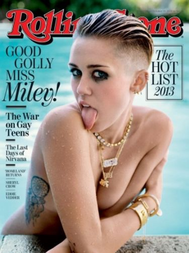 "Miley's most recent cover is her October 2013 Rolling Stones shoot, released today. It sees her in her usual pose of tongue out, eyes centre, this time chilling in a swimming pool. It's sultry, very sexy and just a bit naked.<p><a href=""http://www.cosmopolitan.co.uk/celebs/entertainment/singers-crying-on-stage-video"" target=""_blank"">MILEY CRIES SINGING WRECKING BALL - WATCH</a></p> <p><a href=""http://www.cosmopolitan.co.uk/celebs/entertainment/miley-cyrus-rolling-stone-interview"" target=""_blank"">READ MILEY'S ROLLING STONE INTERVIEW</a></p>"