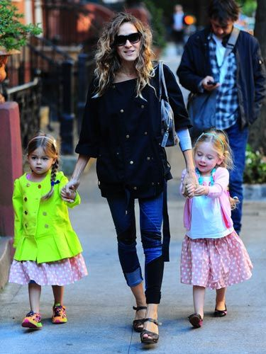 <p>Twins Tabitha and Marion Broderick are following in mum Sarah Jessica Parker's sartorial footsteps at the tender age of four. Matching polka-dot skirts, neon duffle coats and colour block trainers - these kids have a future in fashion.</p>