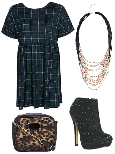 """<p>Clash this season's <a href=""""http://www.cosmopolitan.co.uk/fashion/shopping/tartan-trousers-winter-fashion-trends-2013"""" target=""""_blank"""">on-trend tartan</a> with leopard print, plus throw in some studs and chains for a punky look. The smock dress shape and sky-high heels add a girly edge.</p> <p>Tartan smock dress, £18, <a href=""""http://www.boohoo.com/new-in/kate-tartan-oversized-smock-dress/invt/azz40746"""" target=""""_blank"""">boohoo.com</a><br />Multi chain necklace, £6, <a href=""""http://www.boohoo.com/necklaces/ali-multi-chain-necklace/invt/azz45975"""" target=""""_blank"""">boohoo.com</a><br />Studded boots, £12.99, <a href=""""http://www.shoezone.com/Womens/Boots/All/Lilley-Womens-High-Studded-Platform-Shoe-Boot-18027"""" target=""""_blank"""">shoezone.com</a><br />Leopard print across-body bag, £8, <a href=""""http://www.clothingattesco.com/f+f-leopard-print-cross-body-bag/invt/bo321034/"""" target=""""_blank"""">clothingattesco.com</a></p> <p><strong>Total cost: £44.99</strong></p> <p><a href=""""http://www.cosmopolitan.co.uk/fashion/shopping/womens-clothing-under-ten-pounds"""" target=""""_blank"""">SHOP: Daily fashion finds for £10 or less</a></p> <p><a href=""""http://www.cosmopolitan.co.uk/fashion/shopping/skirts-dresses-5-pounds-or-less"""" target=""""_blank"""">10 dresses and skirts for under £5</a></p> <p><a href=""""http://www.cosmopolitan.co.uk/fashion/shopping/primark-winter-2013-fashion-trends"""" target=""""_blank"""">See Primark's epic winter fashion collection</a></p>"""