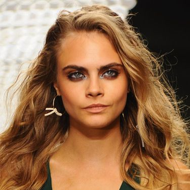 """<p>Cara Delevingne channelled Ibizan beachy beauty for the Topshop Unique show with ease. Makeup artist Hannah Murray used the matte Topshop Bronzer on Cara over her St Tropez Instant Tan. The incredible eye makeup was courtesy of the smudgy Topshop Grunge Stick etched along the upper and lower lids, plus a burnished brown shadow with a little touch of gloss, creating a contrasting texture against the powdery pigments. The tousled locks were created by rough drying L'Oreal Professionnel Force 5 Mousse into the strands for texture before being randomly tonged. Then a conditioner was scrunched into the waves to give a wet effect.</p><p><a href=""""http://www.cosmopolitan.co.uk/beauty-hair/news/see-the-ibizan-beauty-look-at-topshop-unique-ss14#ixzz2fnfTDtFt"""" target=""""_blank"""">BEHIND THE SCENES AT TOPSHOP UNIQUE</a></p>"""