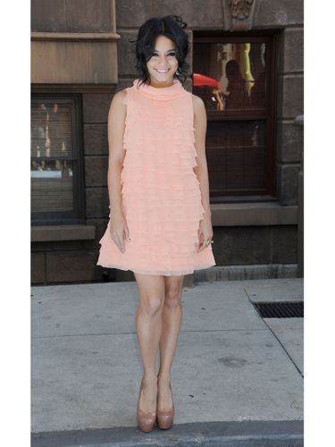 <p>Vanessa looked pretty in pink in this ruffled peach-perfect mini dress last September for at Variety's Power Of Youth event. Teaming her dress with nude platform heels and a messy up-do gave her a fun and flirty vibe.</p>