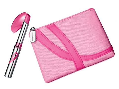 """<p>Clinique has created a limited-edition pink shade of its beloved Almost Lipstick, Pink Ribbon Honey, and housed it in a mini cosmetic carrying pouch. To support Breast Cancer Awareness, £2 will go to The Breast Cancer Research Foundation, (£1 from Clinique and £1 from Boots/ Selfridges) from every purchase.<br /><br />£16, <a href=""""http://www.clinique.co.uk/"""" target=""""_blank"""">Clinique.co.uk</a></p>"""