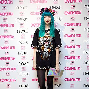 "<p><a href=""http://thelondonlipgloss.blogspot.com"" target=""_blank"">Zoe</a> is never afraid to take risks with fashion and not only are we seriously loving her blue hair, but we adore her Avion en Papler dress, <a href=""http://www.cosmopolitan.co.uk/fashion/shopping/kelly-brook-new-look-aw13?click=main_sr"" target=""_blank"">New Look</a> heels and floral crown by Rock n Rose.</p>