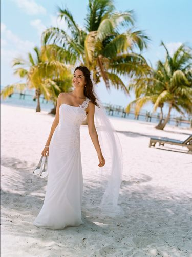 """<p>Think about the setting and location of your wedding and try to choose a dress that fits in with the overall theme. if you're planning on a beach wedding, then a softer look or less structured style might go down better in Hawaii, rather than a traditional gown which would suit a church much better.</p> <p><em>V3398, David's Bridal Collection, Soft White, £475.00, <a href=""""http://www.davidsbridal.co.uk"""" target=""""_blank"""">davidsbridal.co.uk</a></em><strong> </strong><strong></strong></p>"""