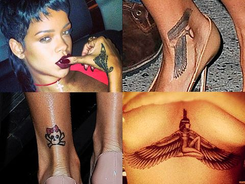 <p>Rihanna loves a tattoo doesn't she? The singer has a whopping 21 tats all over her bod and something tells us there'll be lots more to come. So let's have a look at ALL of her body art and their meanings...</p>