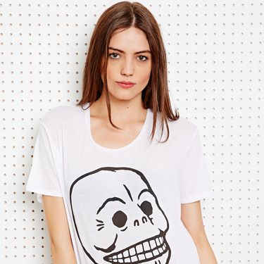 """<p>Cheap Monday's signature skull print comes in handy at this time of year - team with a leather pencil skirt, black lace socks and some cheeky shoe boots. Casual yet spooky!</p><p>Easy skull tee, £10, Cheap Monday at <a href=""""http://www.urbanoutfitters.co.uk/cheap-monday-easy-skull-tee-in-white/invt/5119462116202"""" target=""""_blank"""">Urban Outfitters</a></p><p><a href=""""http://www.cosmopolitan.co.uk/fashion/shopping/new-in-store-14-oct?page=1"""" target=""""_blank"""">NEW IN STORE THIS WEEK</a></p><p><a href=""""http://www.cosmopolitan.co.uk/fashion/shopping/pauls-boutique-bags-winter-2013?page=1"""" target=""""_blank"""">TEN NEW HANDBAGS FOR A/W13</a></p><p><a href=""""http://www.cosmopolitan.co.uk/fashion/news/m-and-s-best-of-british-fashion"""" target=""""_blank"""">M&S LAUNCHES BEST OF BRITISH COLLECTION</a></p>"""