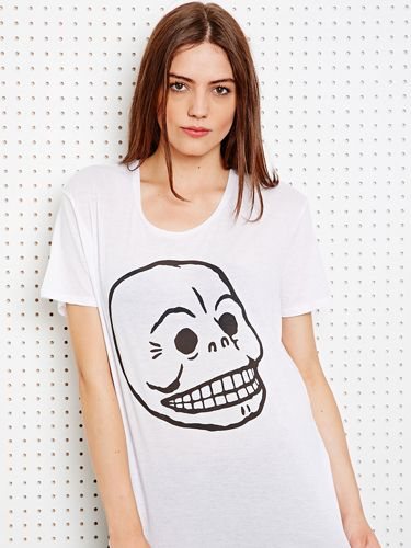 "<p>Cheap Monday's signature skull print comes in handy at this time of year - team with a leather pencil skirt, black lace socks and some cheeky shoe boots. Casual yet spooky!</p> <p>Easy skull tee, £10, Cheap Monday at <a href=""http://www.urbanoutfitters.co.uk/cheap-monday-easy-skull-tee-in-white/invt/5119462116202"" target=""_blank"">Urban Outfitters</a></p> <p><a href=""http://www.cosmopolitan.co.uk/fashion/shopping/new-in-store-14-oct?page=1"" target=""_blank"">NEW IN STORE THIS WEEK</a></p> <p><a href=""http://www.cosmopolitan.co.uk/fashion/shopping/pauls-boutique-bags-winter-2013?page=1"" target=""_blank"">TEN NEW HANDBAGS FOR A/W13</a></p> <p><a href=""http://www.cosmopolitan.co.uk/fashion/news/m-and-s-best-of-british-fashion"" target=""_blank"">M&S LAUNCHES BEST OF BRITISH COLLECTION</a></p>"