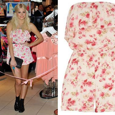 "<p>The sultry songstress is known for quirky style and at the launch of her third collection with Lipsy, wowed in a cute floral playsuit. Get the exact same style for £45 from<a href=""http://www.lipsy.co.uk/store/pixie-lott-collection/pixie-bandeau-ruffle-playsuit/product-is-DR05017_083 ""target=""_blank""> lipsy.co.uk</a></p>"