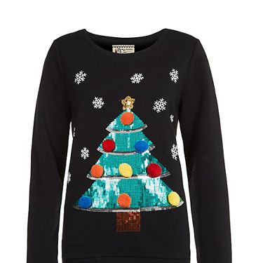 <p>Gather all your presents in just one jumper - we love the bright sequins against the black knit.</p>