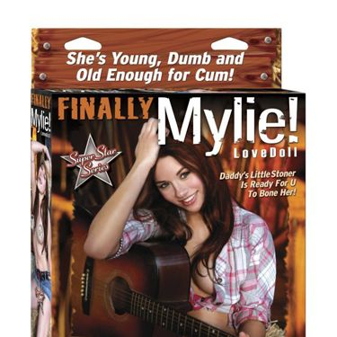 "<p>""She's young, dumb and old enough for cum."" These copywriter's clearly don't have Miley's talent for rhymes.</p>