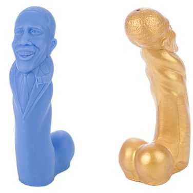 <p>We appreciate any sex toy that takes politics into account - this Obama dildo (standing at 7.5 inches apparently…) comes (pun intended) in sparkling gold and a Democratic blue. Who said sex wasn't political?</p>