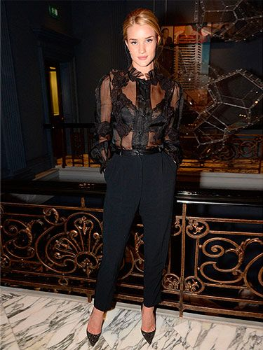 "<p>Not everyone can pull off a sheer blouse, but then again, not everyone is Rosie Huntington-Whiteley. At the launch for her luxe sleepwear range at M&S, Rosie gave a peek of what we can expect from the collection, showing off a lacy, black bra.</p> <p><a href=""http://www.cosmopolitan.co.uk/fashion/love/"" target=""_blank"">VOTE ON CELEBRITY STYLE</a></p> <p><a href=""http://www.cosmopolitan.co.uk/fashion/shopping/new-in-store-14-oct"" target=""_blank"">SHOP THIS WEEK'S BEST BUYS</a></p> <p><a href=""http://www.cosmopolitan.co.uk/fashion/celebrity/"" target=""_blank""> SEE THE LATEST CELEBRITY TRENDS</a></p>"