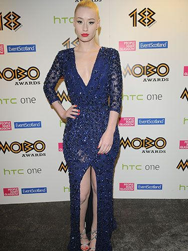 "<p>Iggy opted for a sparkly blue dress with an up-the-middle slit, paired with silver heels, for her appearance at the Music of Black Origin Awards in Glasgow. It's a daring look; and Iggy positively nails it.</p> <p><a href=""http://www.cosmopolitan.co.uk/celebs/celebrity-gossip/taylor-swift-sweeter-than-fiction"" target=""_blank"">NEW TAYLOR SWIFT SONG, ANYONE?</a></p> <p><a href=""http://www.cosmopolitan.co.uk/celebs/entertainment/katy-perry-tiger-roar-x-factor?click=main_sr"" target=""_blank"">KATY PERRY DRESSES AS A TIGER ON THE X FACTOR</a></p> <p><a href=""http://www.cosmopolitan.co.uk/celebs/"" target=""_blank"">GET THE LATEST CELEB NEWS</a></p>"