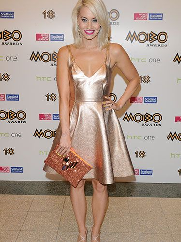 "<p>Former Pussycat Doll, Kimberly Wyatt, was a vision in rose gold on the MOBOs red carpet. The singer accessorised her Felder Felder dress with a statement-making orange clutch and strappy sandals. We love.</p> <p><a href=""http://www.cosmopolitan.co.uk/celebs/celebrity-gossip/taylor-swift-sweeter-than-fiction"" target=""_blank"">NEW TAYLOR SWIFT SONG, ANYONE?</a></p> <p><a href=""http://www.cosmopolitan.co.uk/celebs/entertainment/katy-perry-tiger-roar-x-factor?click=main_sr"" target=""_blank"">KATY PERRY DRESSES AS A TIGER ON THE X FACTOR</a></p> <p><a href=""http://www.cosmopolitan.co.uk/celebs/"" target=""_blank"">GET THE LATEST CELEB NEWS</a></p>"