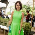 <p>Can you think of anyone else who would be able to pull off this shade of green? Camilla Belle defies autumn and looks positively Spring-chic in this lime-green high-necked full-skirt number. Oh, and her bob is très cute and bang on trend! </p>